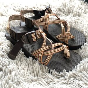 Chaco Shoes - Zx2 chacos brown green orange double strap sandals